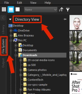 To find your photos, select File System, then Directory View and the Thumbnails will appear on the right.